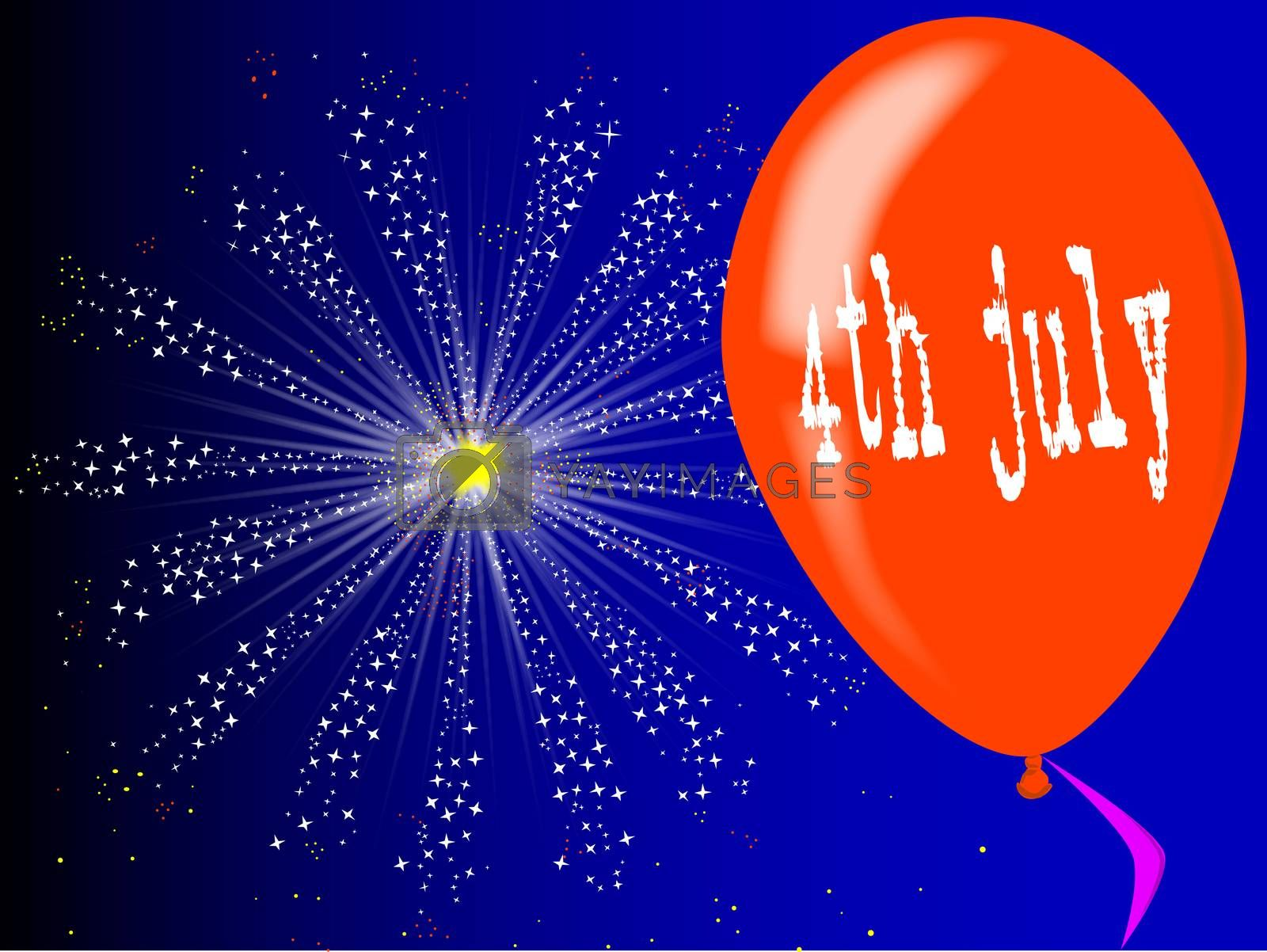 A flyaway red balloon with a skyrocket explosion with fallout and a 4th July message message.
