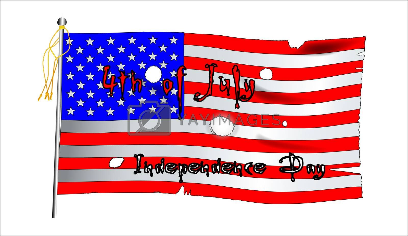 Fourth of July text infront of a Stars and Stripes flag.
