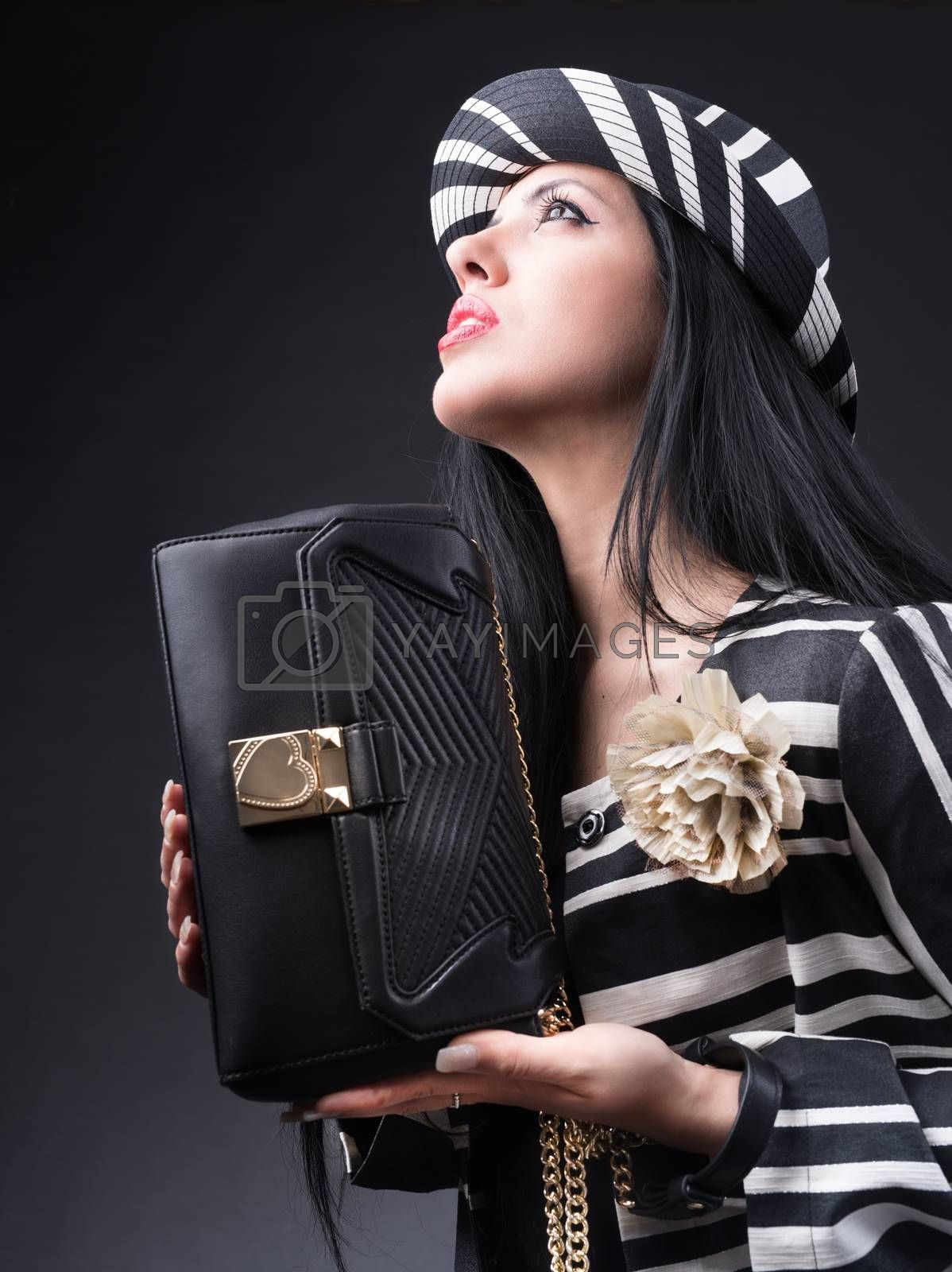 Style girl with bag and black and white outfit
