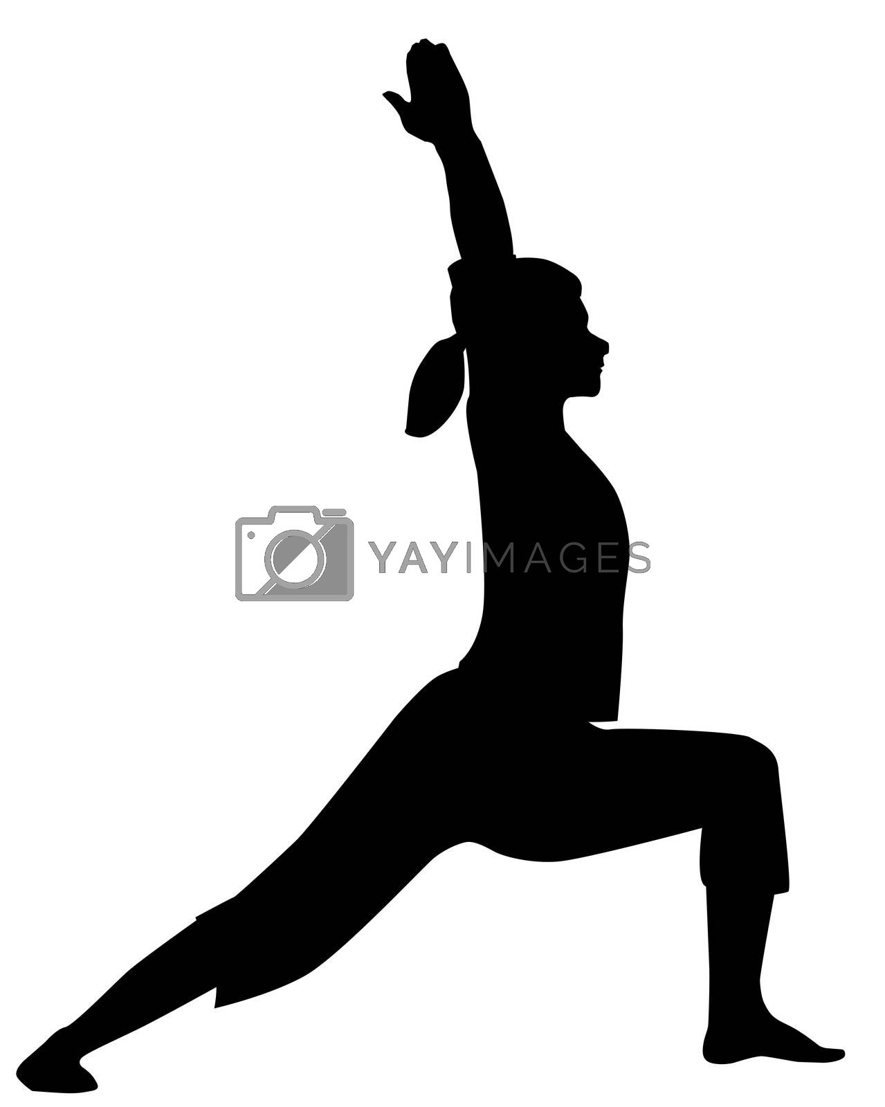 A yoga pose or asana in silhouette isolated over white.