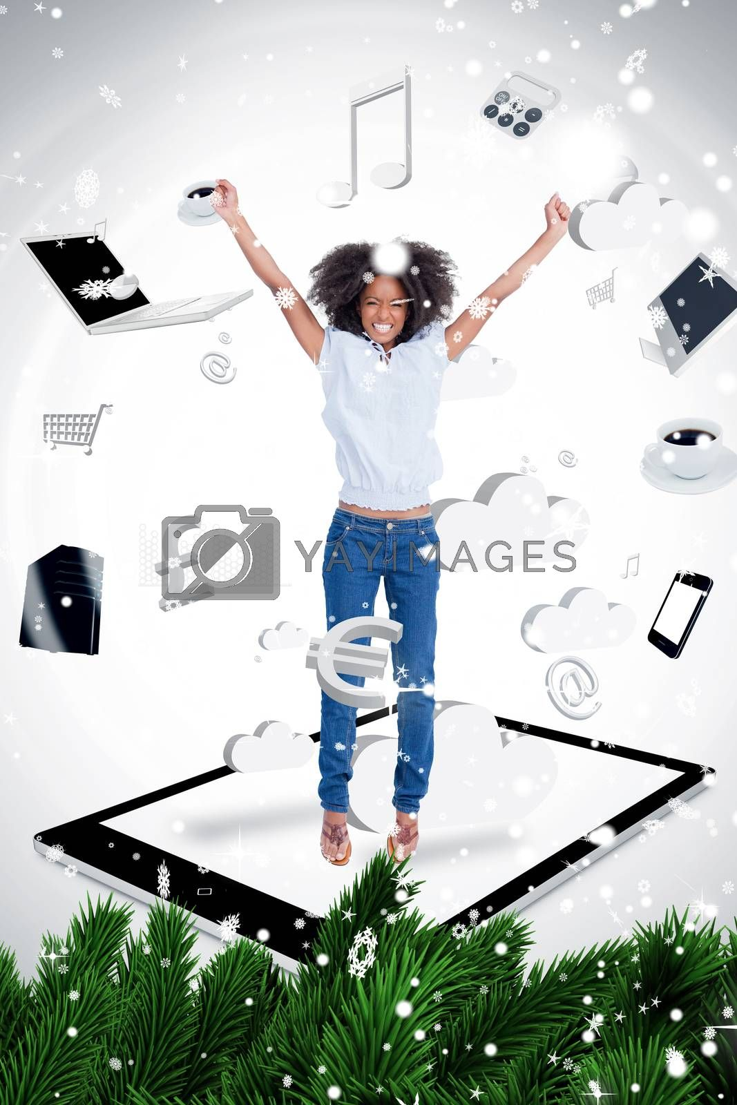 Composite image of a Cheerful woman jumping on a tablet pc against snow falling
