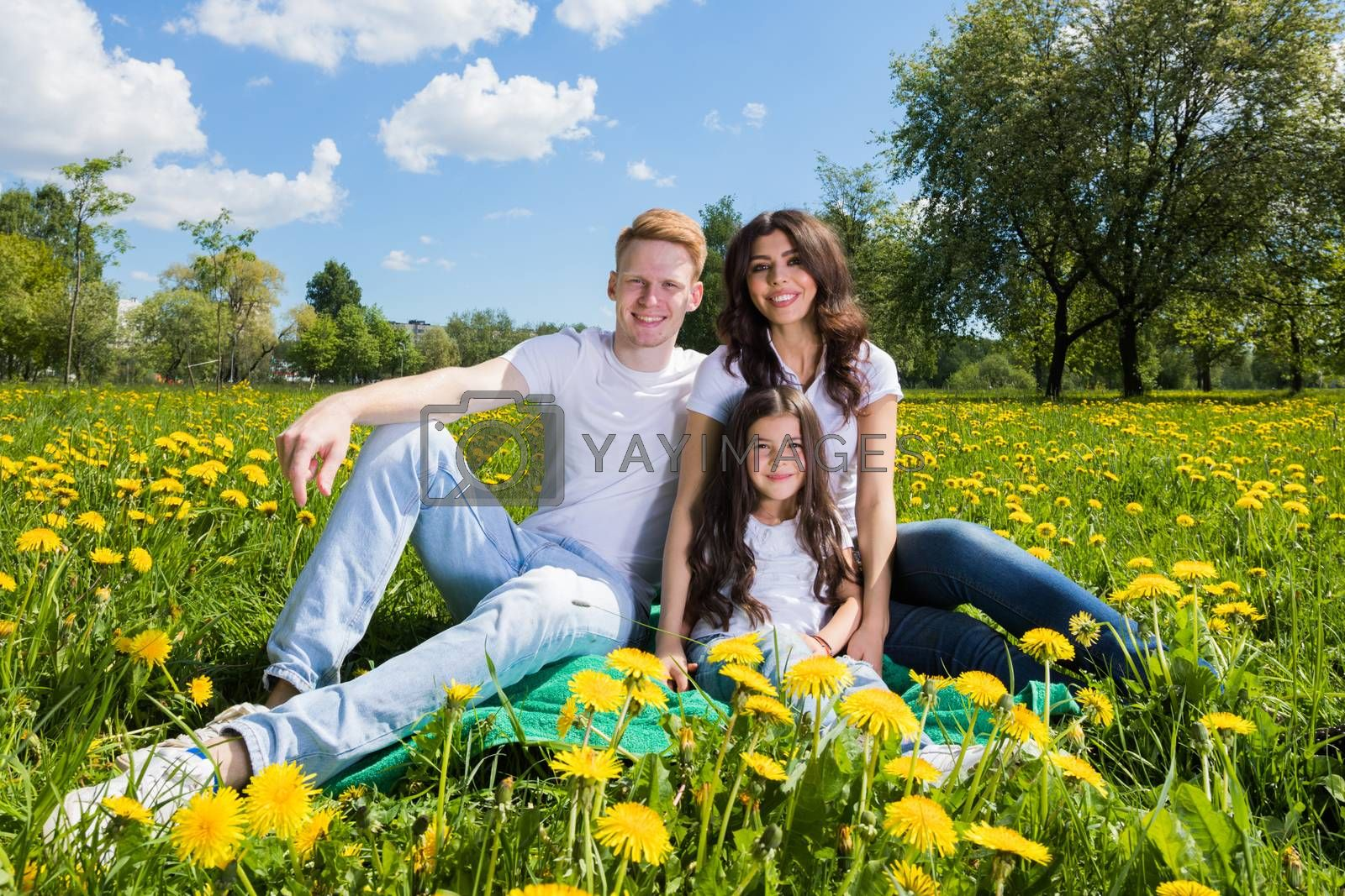 Family of three sitting on spring meadow of blooming yellow dandelion flowers being happy