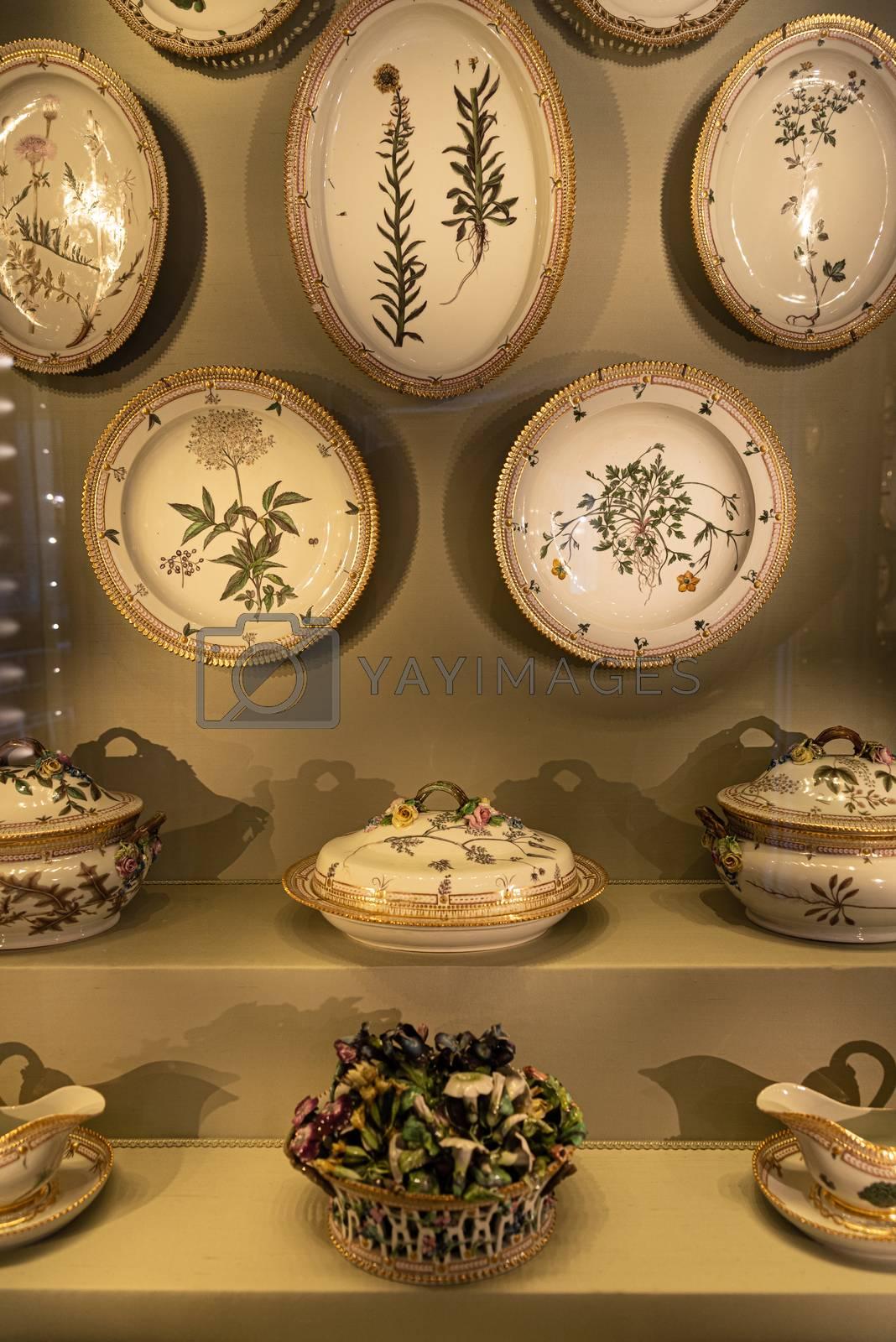 Interiors of royal halls in Christiansborg Palace in Copenhagen Denmark, detail of vintage royal tableware