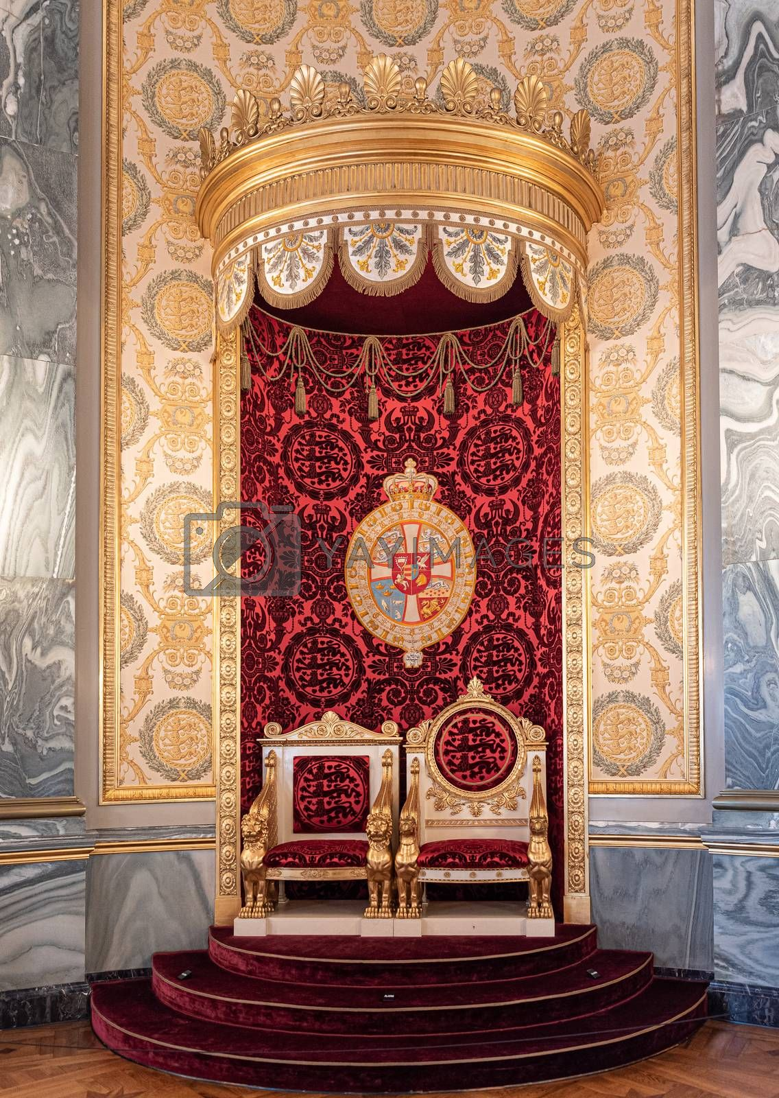 Interiors of the royal halls in the Christiansborg Palace in Copenhagen Denmark, throne of the Danish royalty