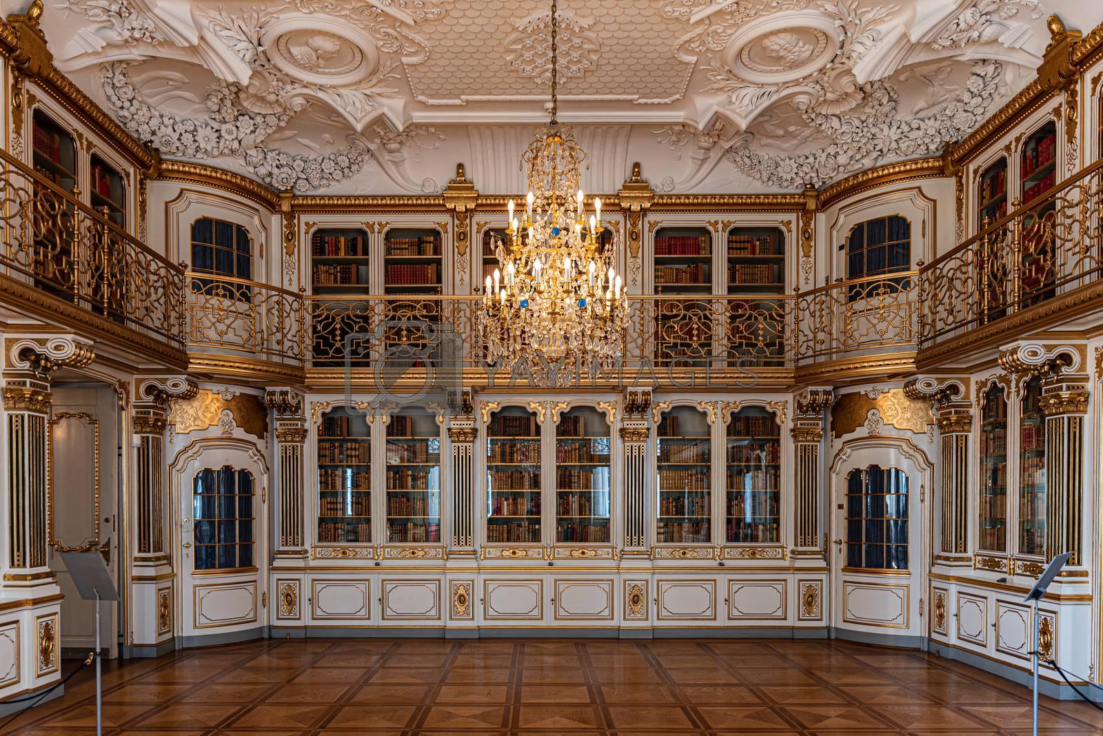 Interiors of royal halls in Christiansborg Palace in Copenhagen Denmark