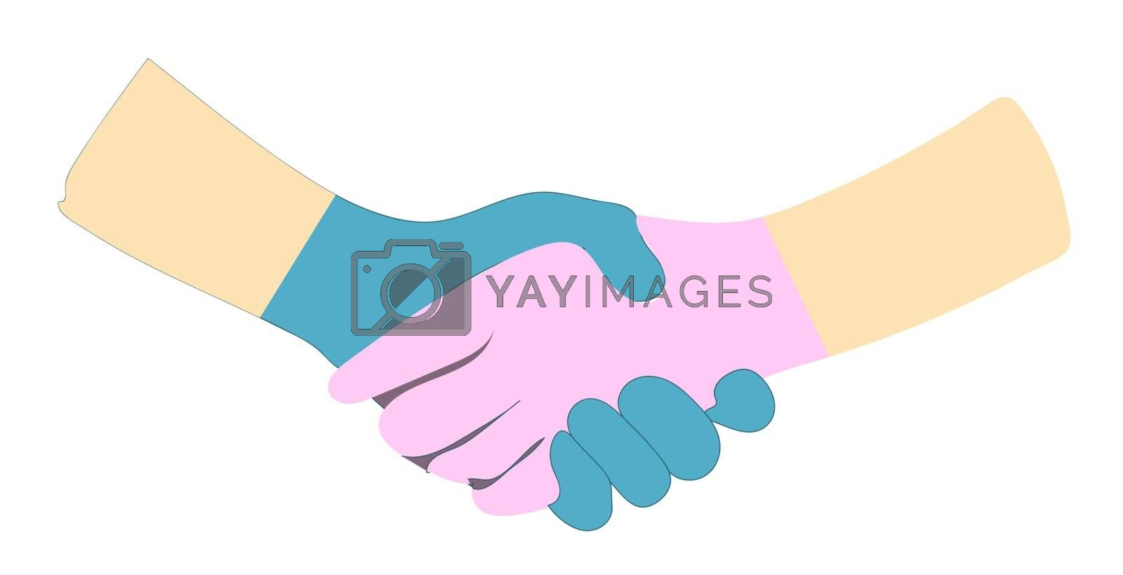 TWO hands in latex gloves isolated on a white background. Vector illustration. shaking hands, greeting and touching