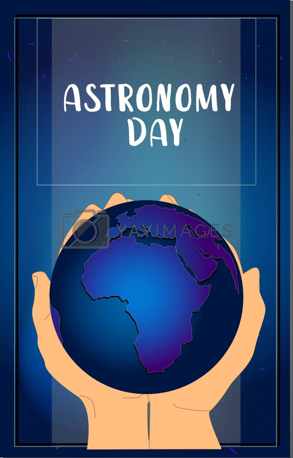 Astronomy and astrology. Cosmos Day. Planet earth in the palms .. Vector illustration. dark night sky.