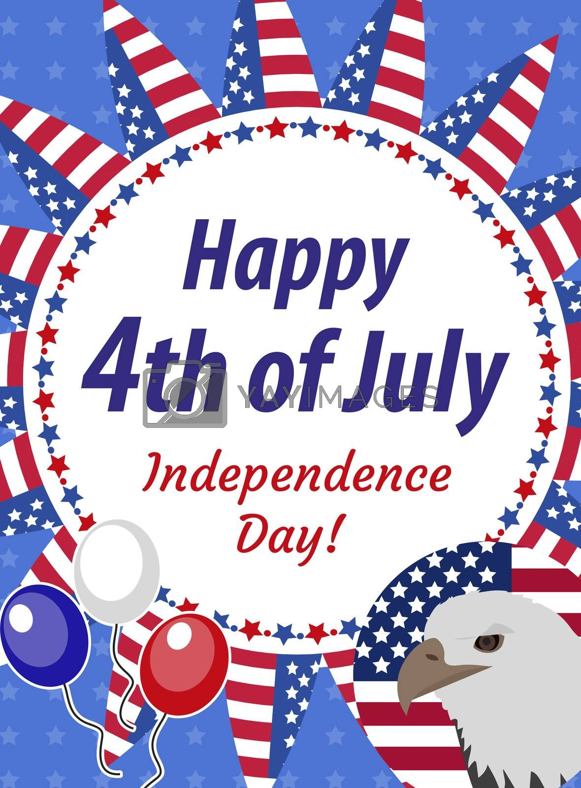 Happy 4th july greeting card, poster. American Independence Day template for your design. illustration.