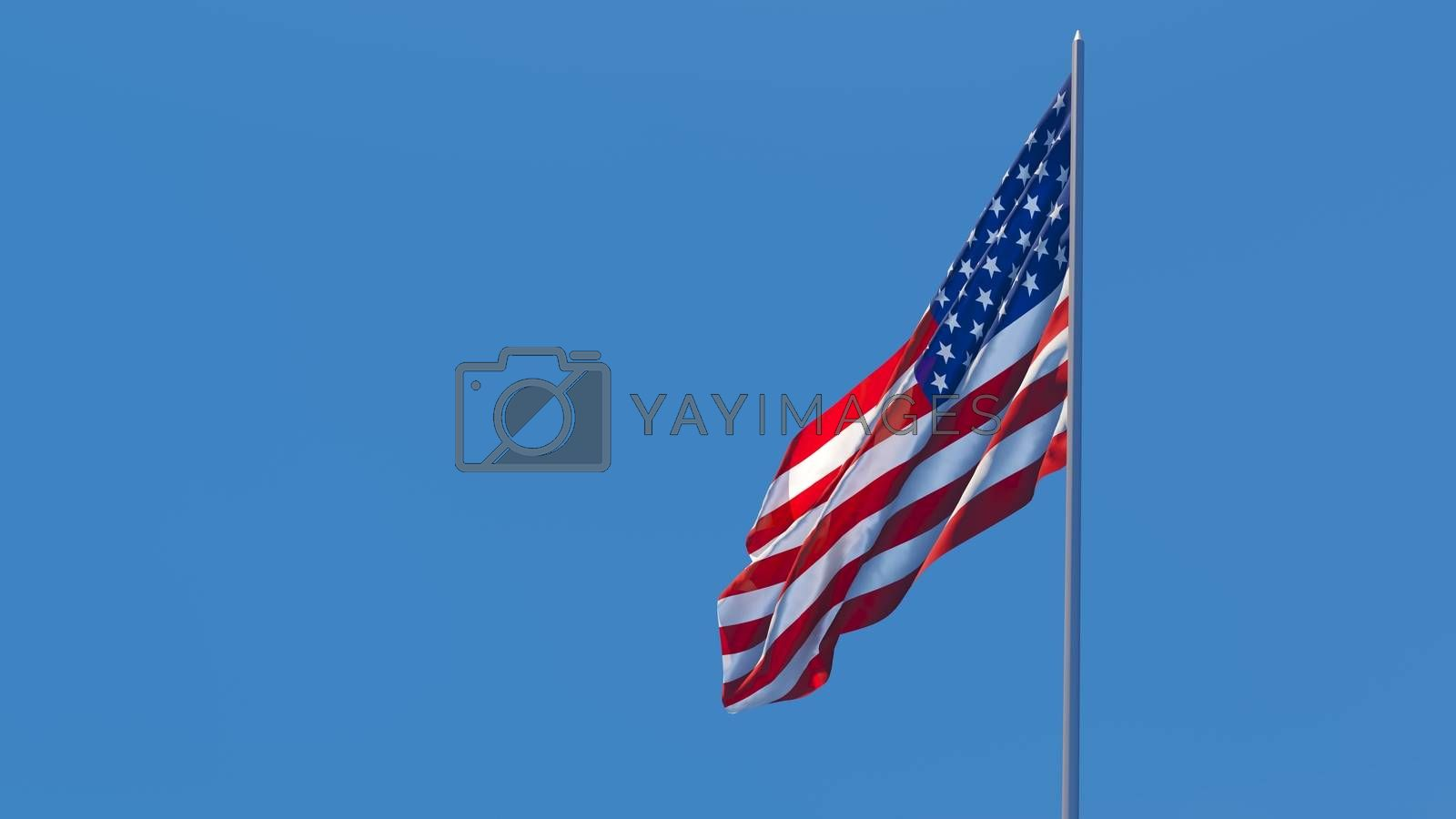 3d rendering of the national flag of the United States of America.