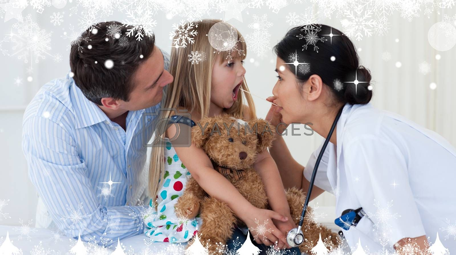 Composite image of a Doctor examining childs throat against snow falling