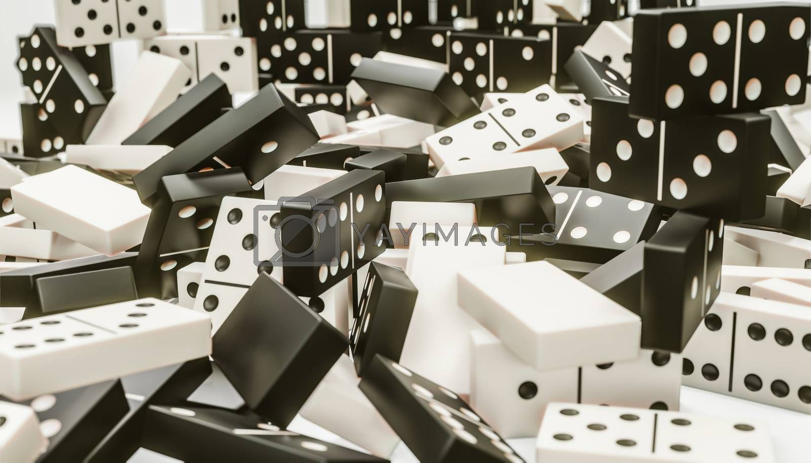 3d illustration of domino pieces on a table board