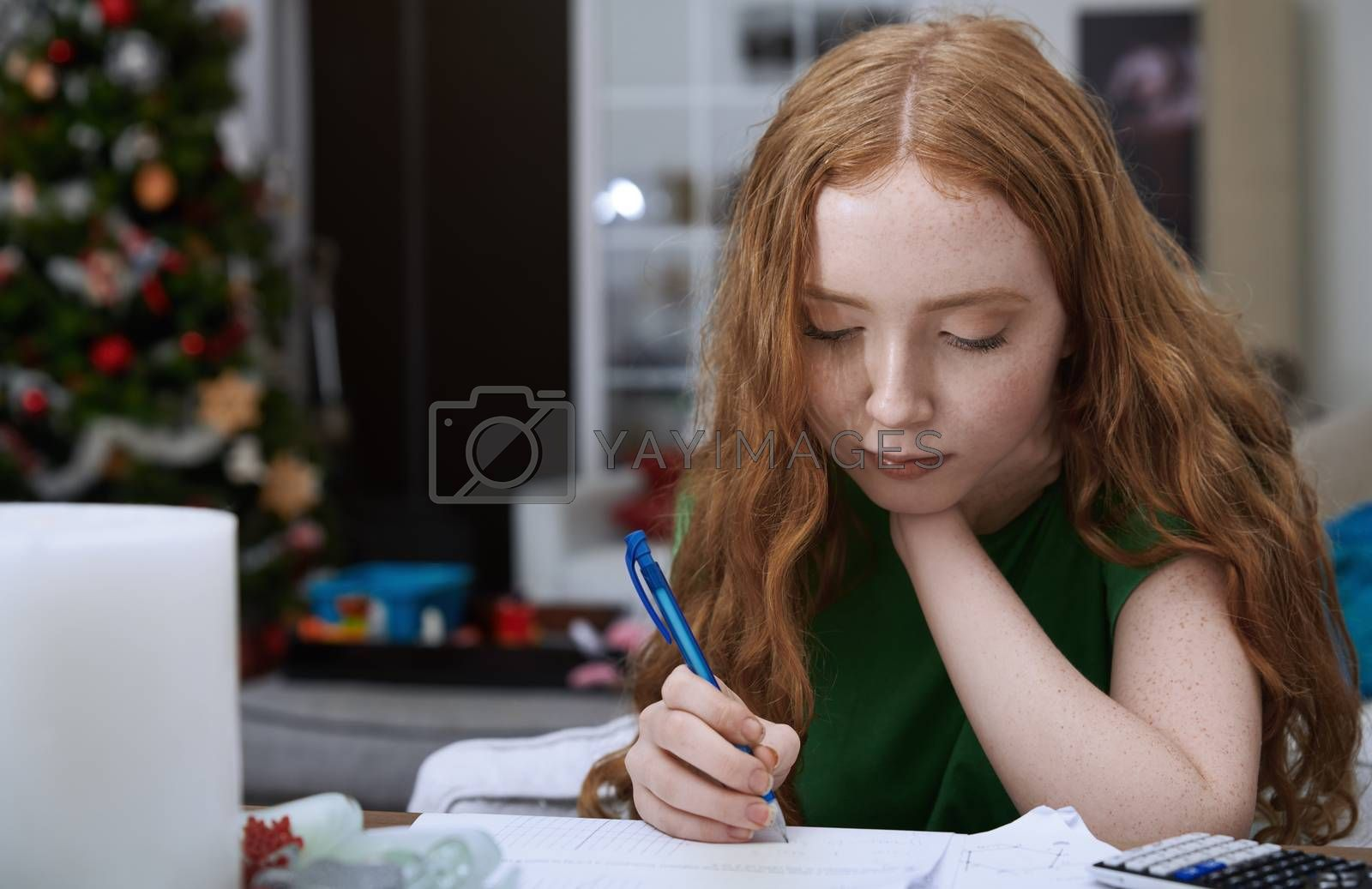 Teenage girl (13-15 years) doing homework