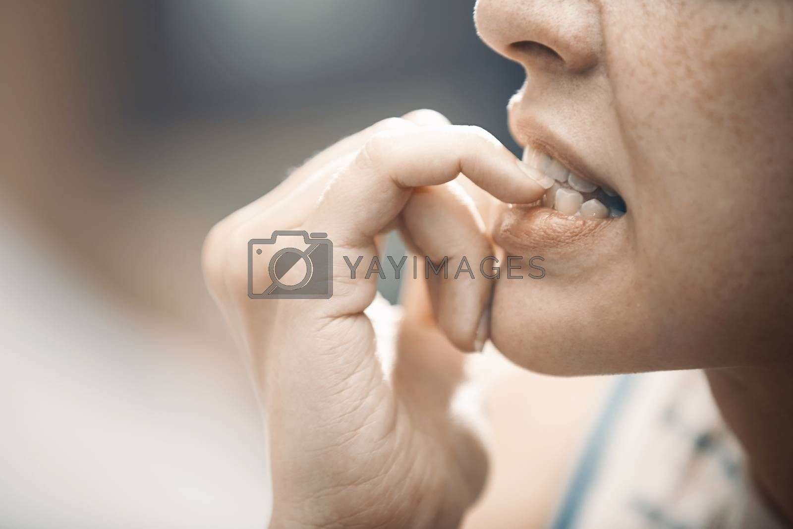 Woman in stress gnawing her nails by Novic