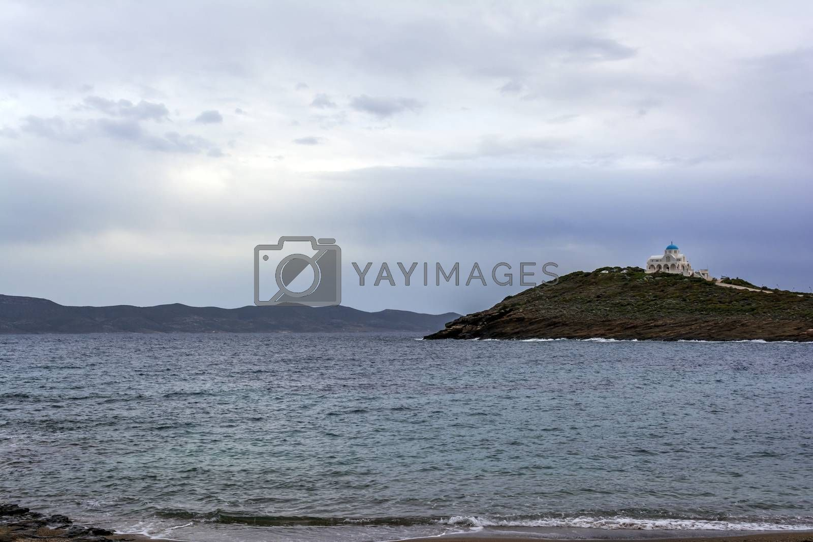Remote view of Church of Profitis Ilias in Keratea, Greece