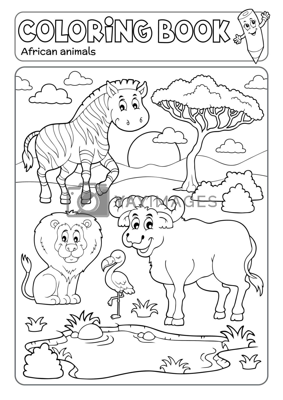 Coloring book African fauna 5 - eps10 vector illustration.
