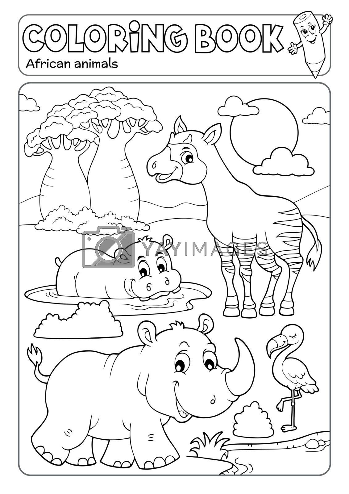 Coloring book African fauna 4 - eps10 vector illustration.