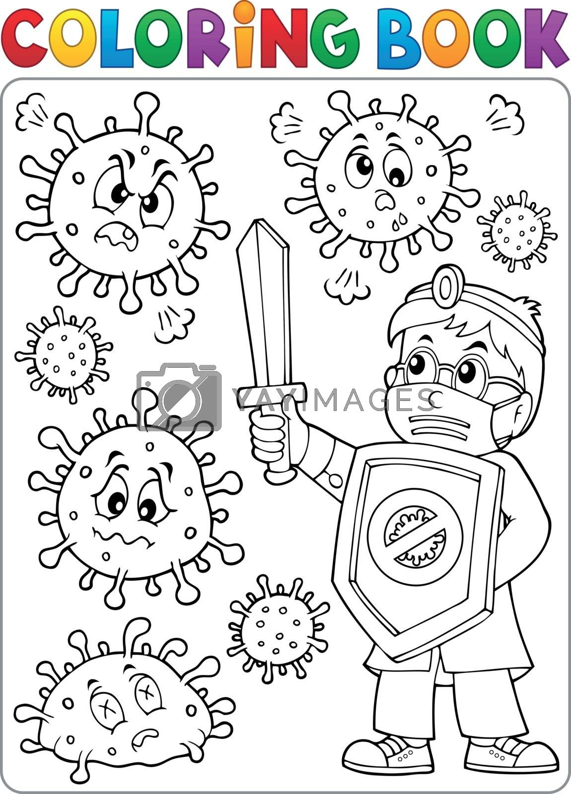 Coloring book doctor fighting virus 2 - eps10 vector illustration.