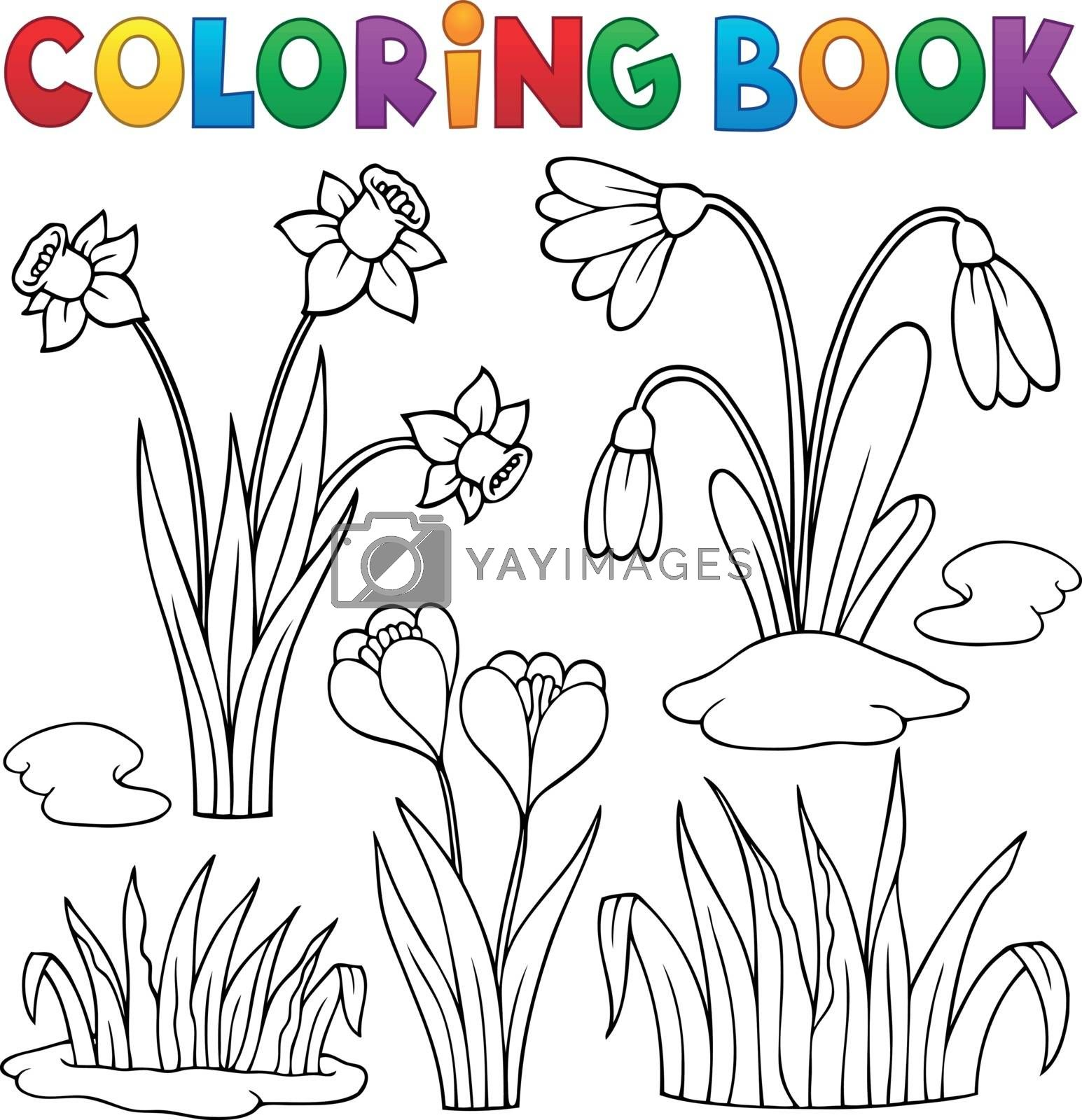 Coloring book early spring flowers set 1 - eps10 vector illustration.
