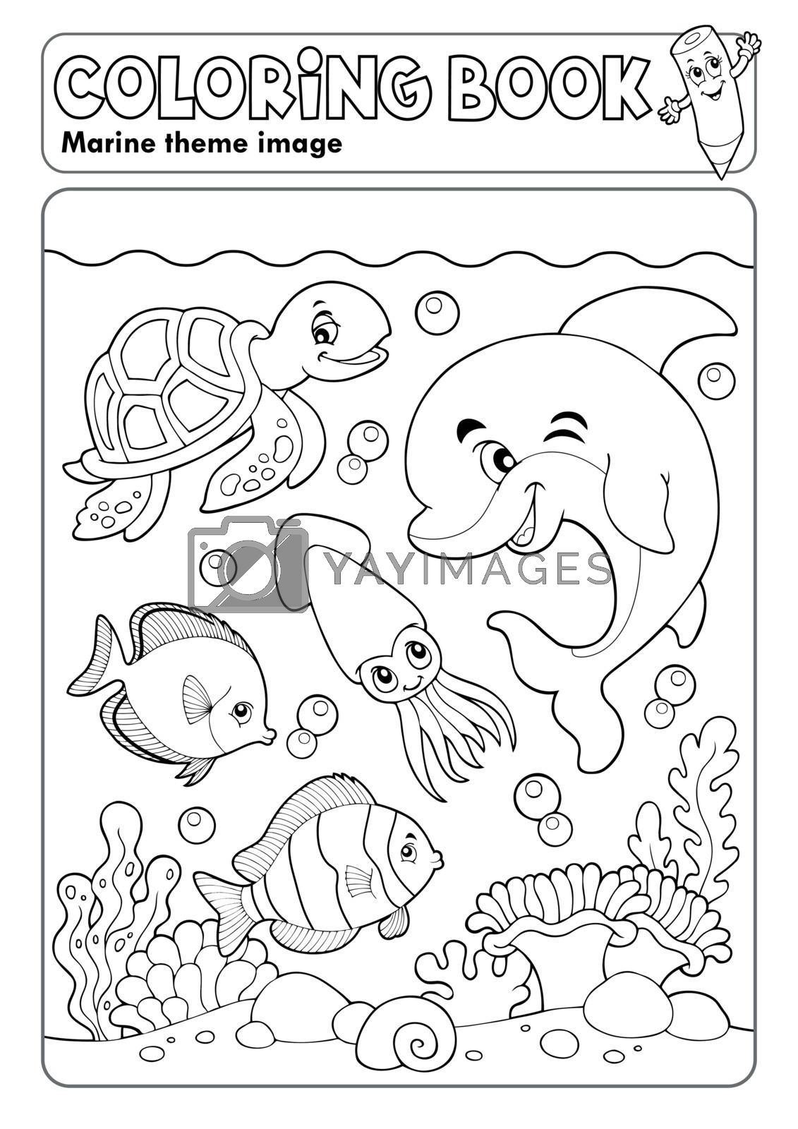 Coloring book marine life theme 3 - eps10 vector illustration.