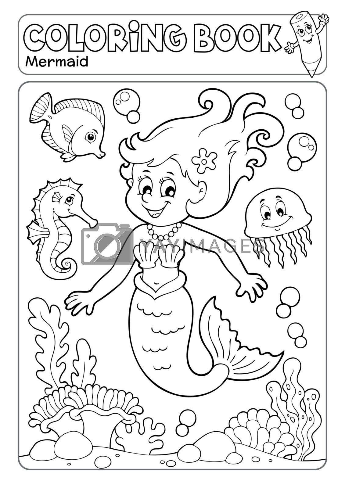 Coloring book mermaid topic 4 - eps10 vector illustration.