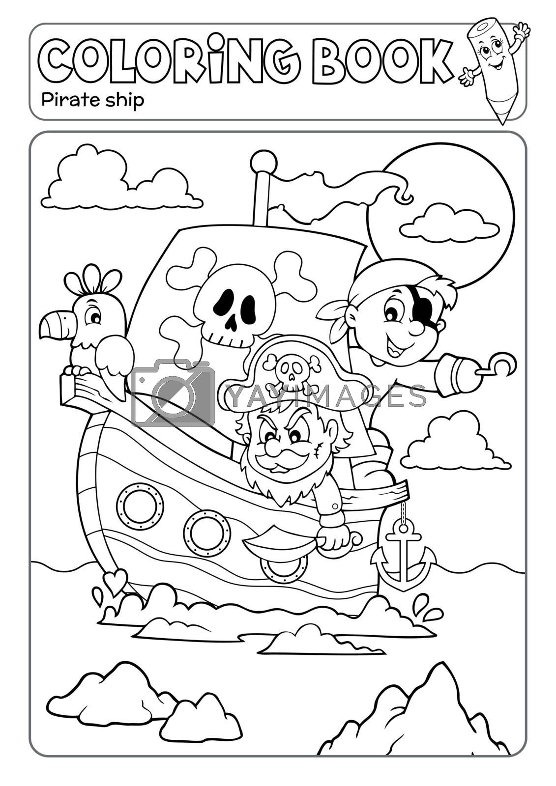 Coloring book pirate boat theme 2 - eps10 vector illustration.