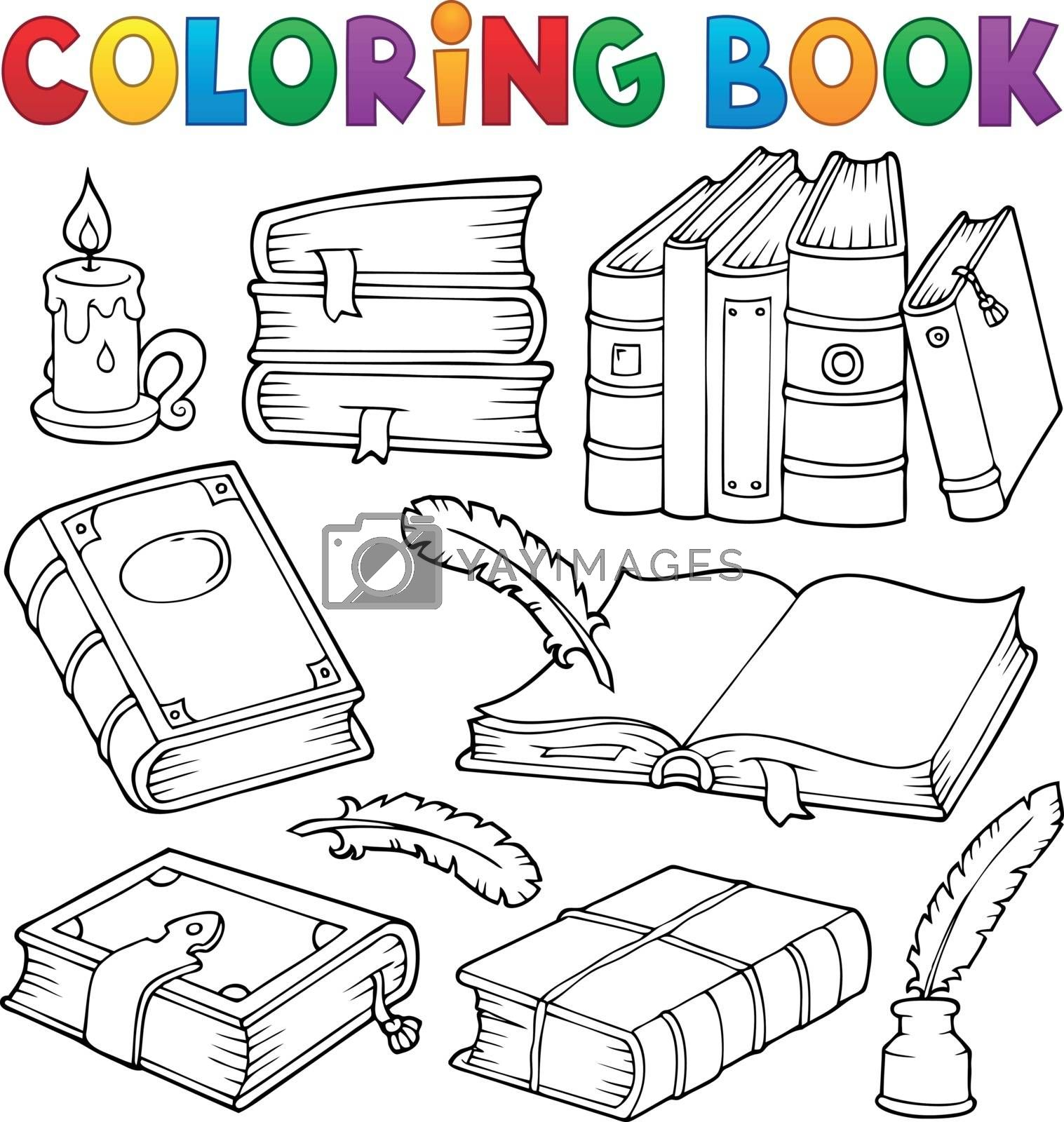 Coloring book old books theme set 1 - eps10 vector illustration.