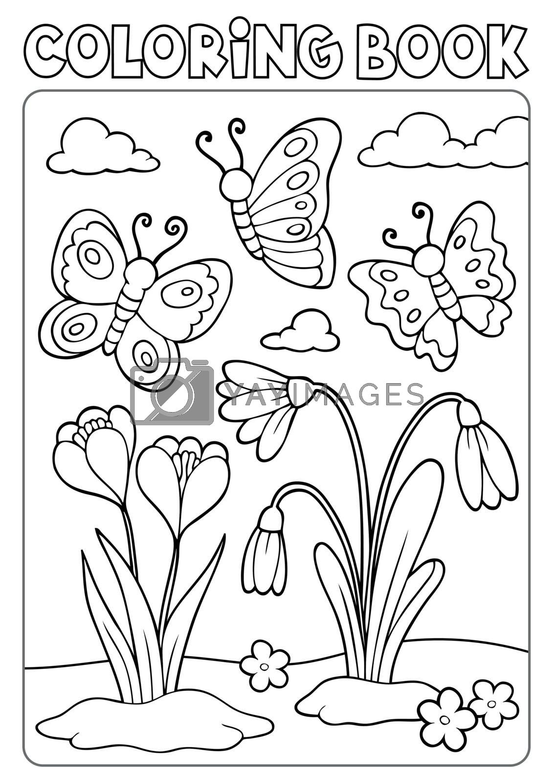 Coloring book spring flowers and butterflies - eps10 vector illustration.