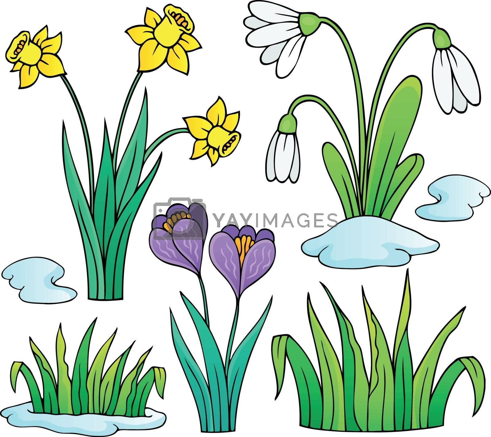 Early spring flowers theme set 1 - eps10 vector illustration.