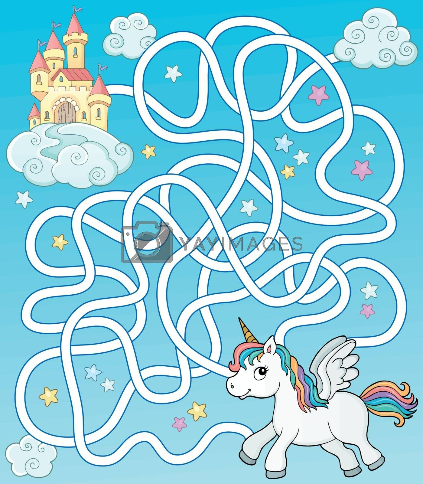 Maze 35 with flying unicorn and castle - eps10 vector illustration.