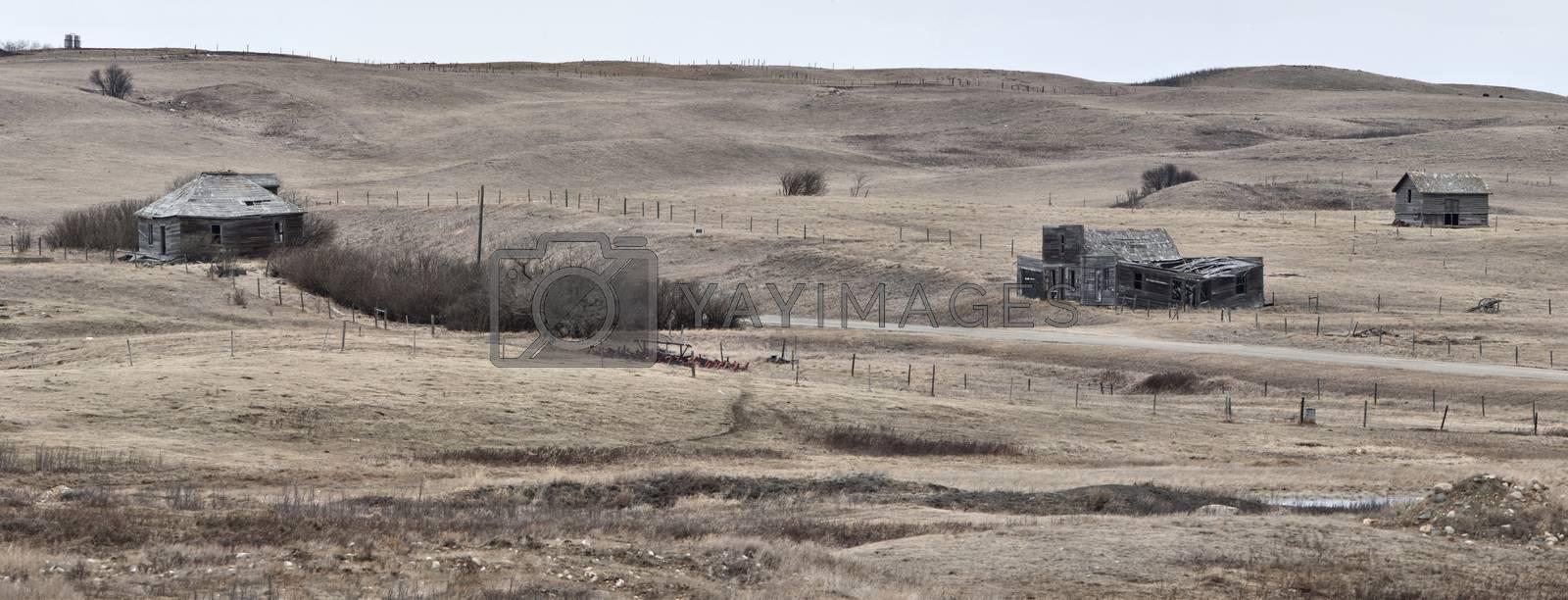 Abandoned Buildings Saskatchewan Prairie Rurual Scene Panorama Beauty