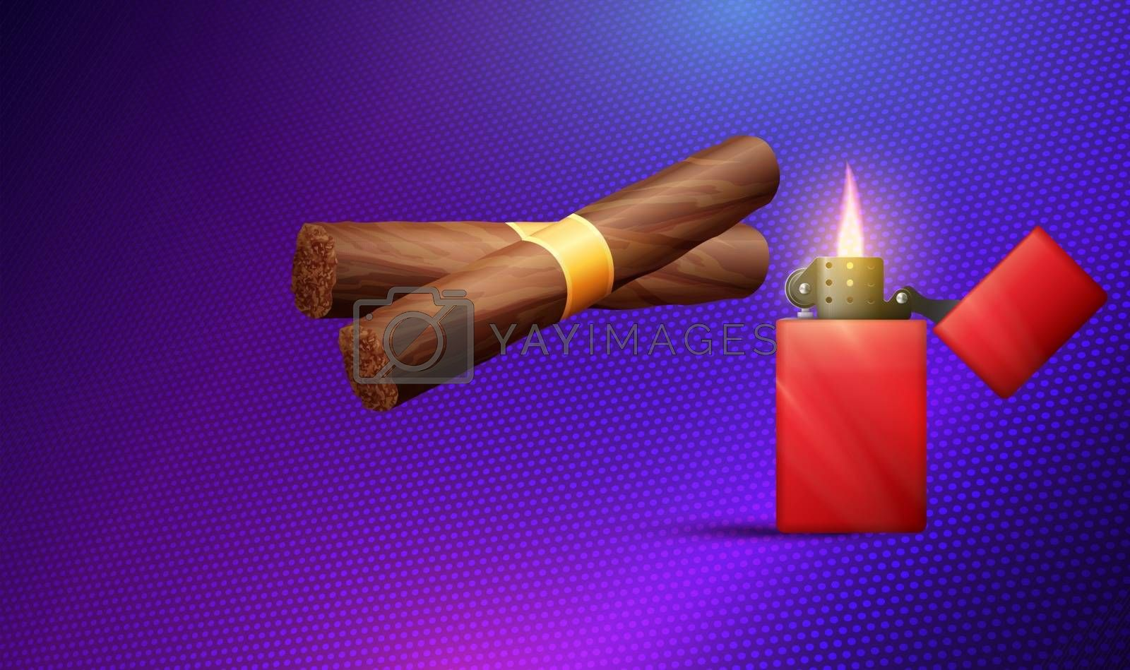 collection of cigar with light box on dark background