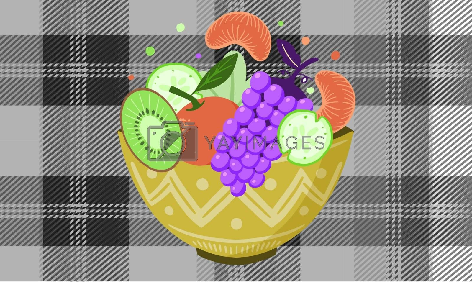 bowl of fruits on textured background