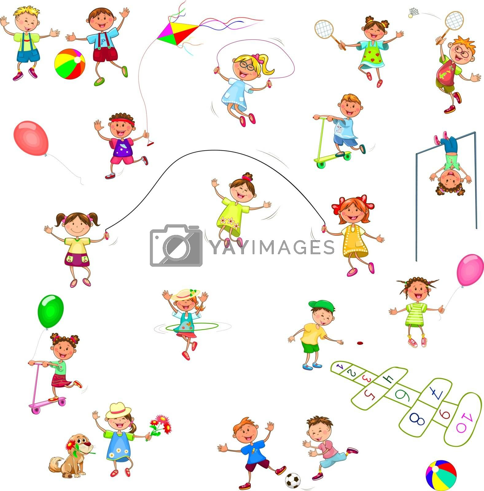 Joyful little children on a walk. Cheerful, smiling children play various games. Group of happy, smiling children.