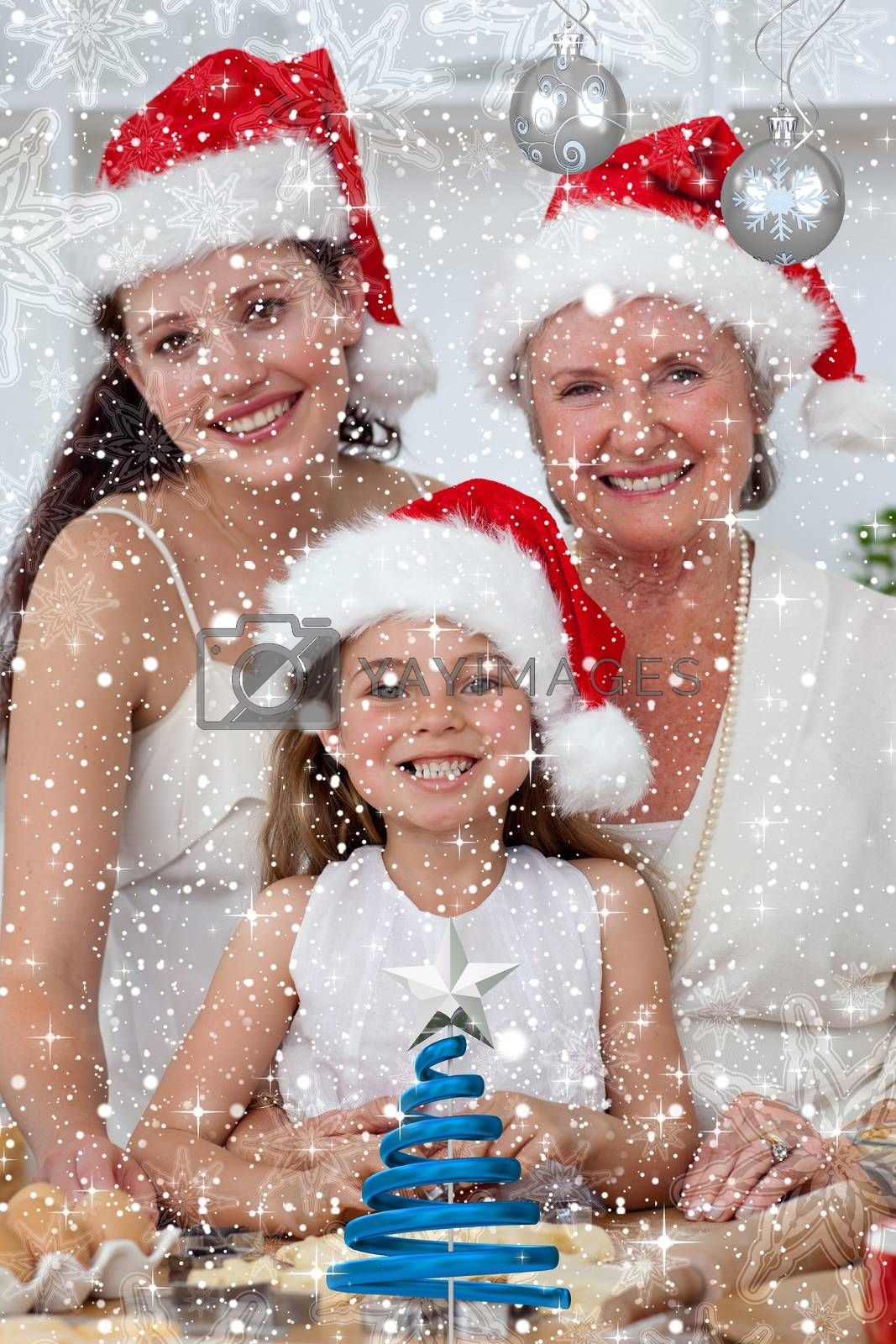 Daughter mother and grandmother baking Christmas sweets against twinkling stars