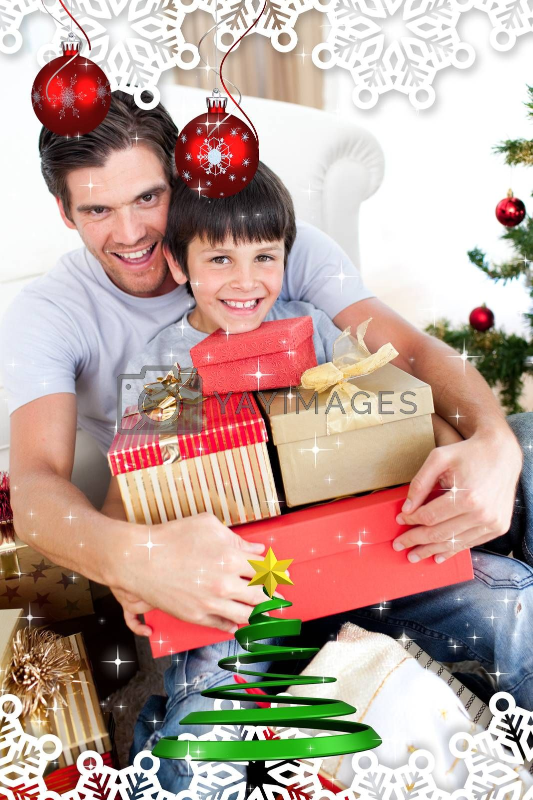 Happy father and son holding Christmas presents against twinkling stars