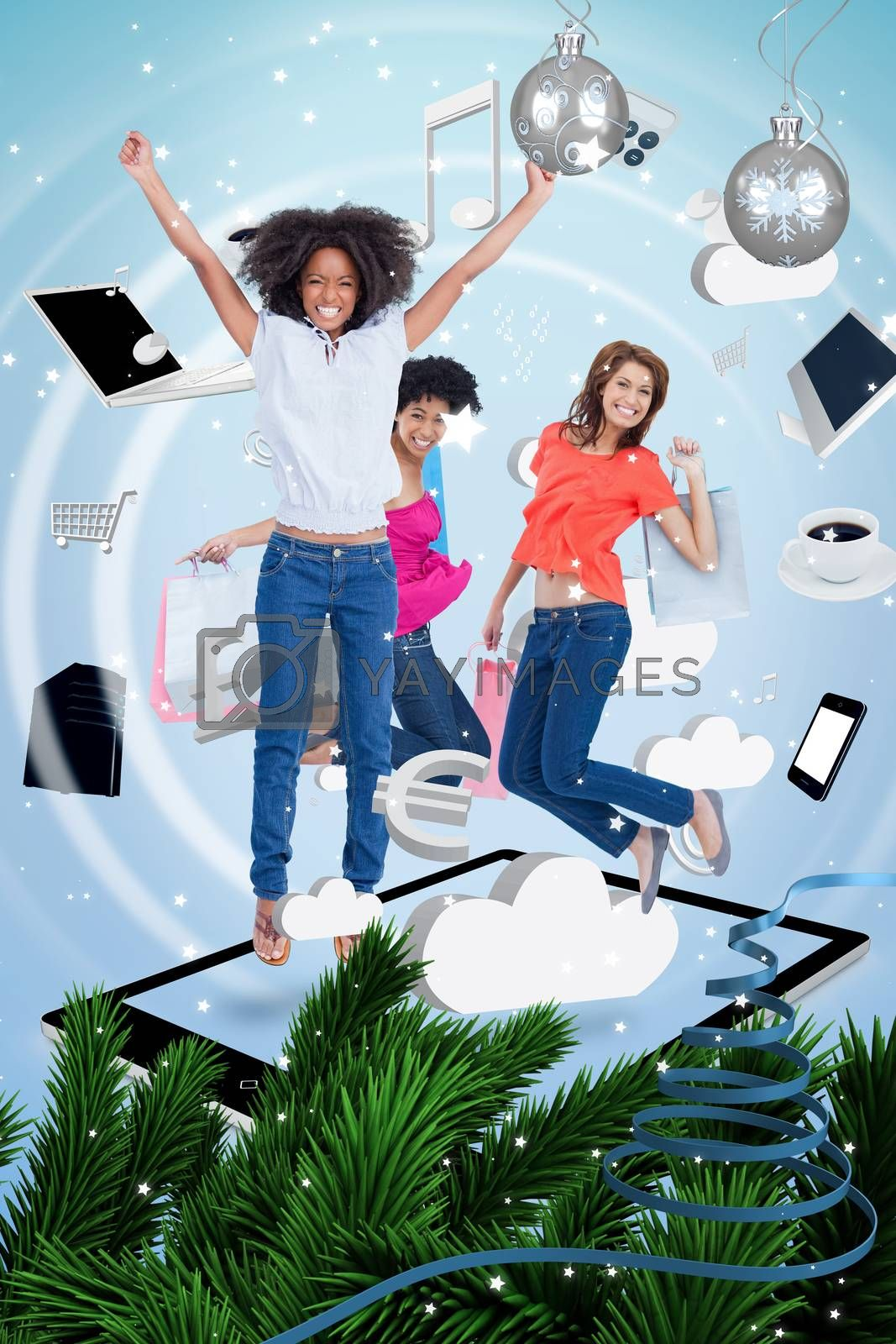Three cute women jumping on a tablet pc against twinkling stars