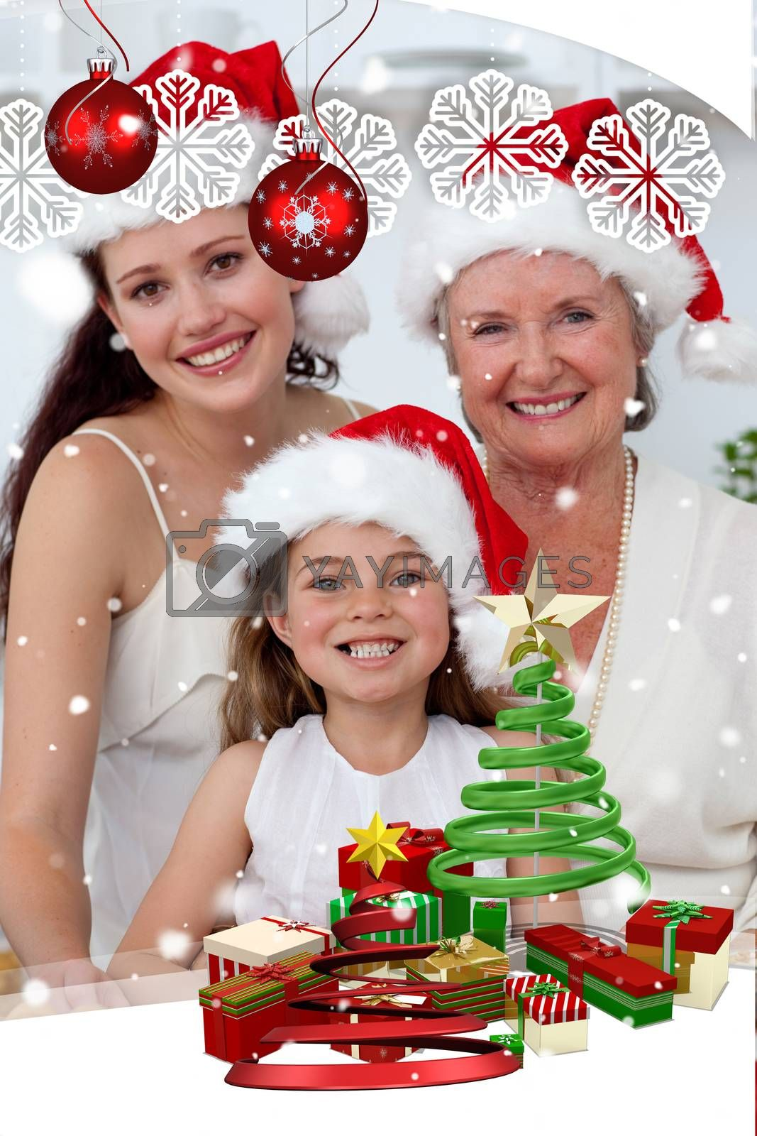Daughter mother and grandmother baking christmas sweets by Wavebreakmedia