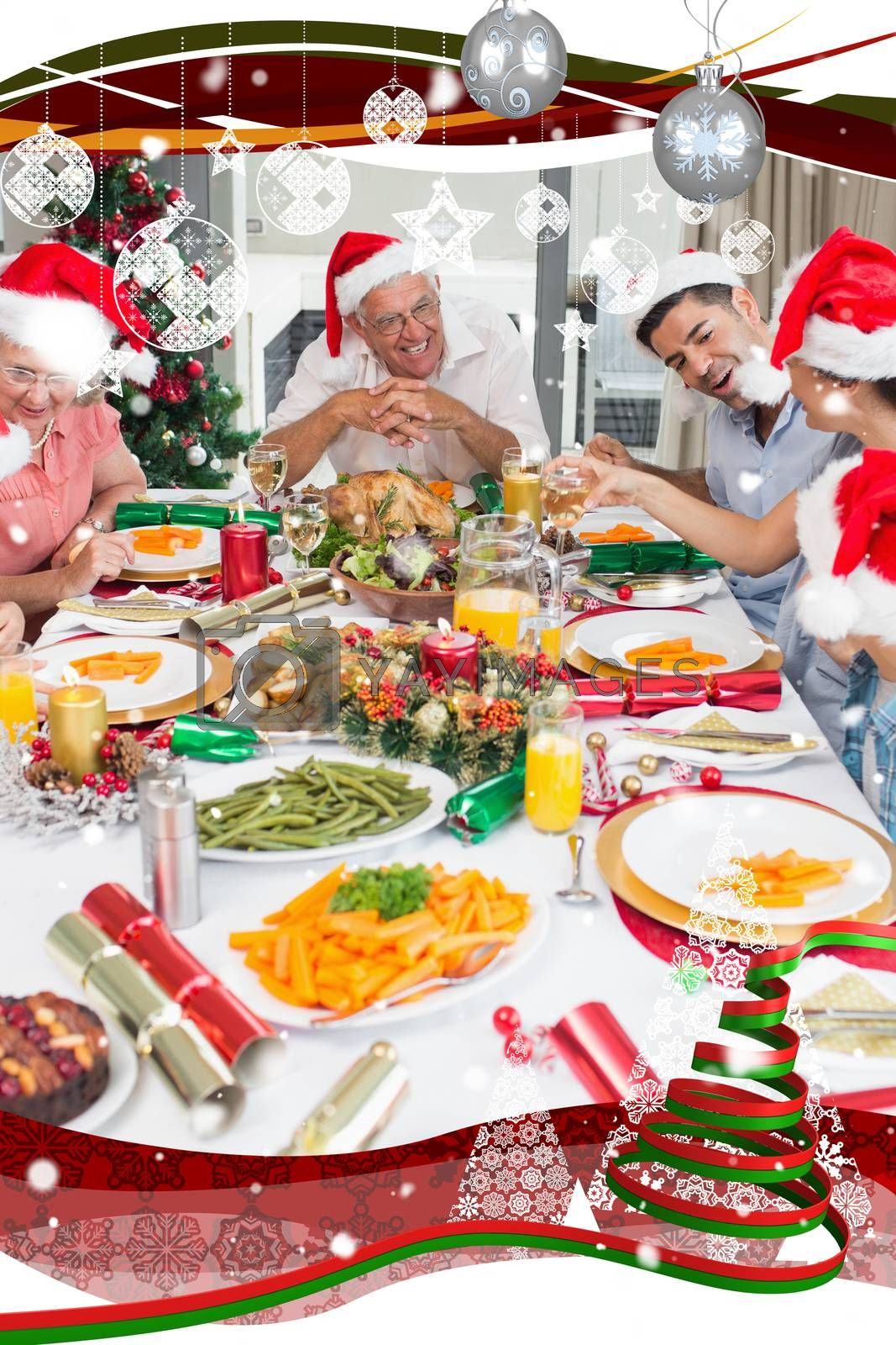 Composite image of happy family in santas hats enjoying christmas dinner by Wavebreakmedia