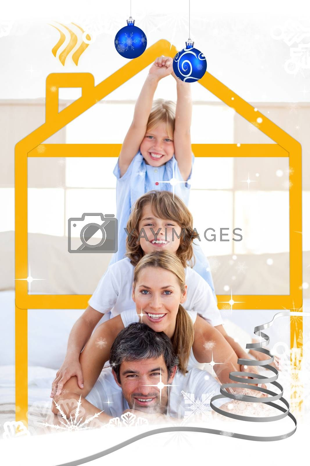 Family having fun with yellow drawing house by Wavebreakmedia