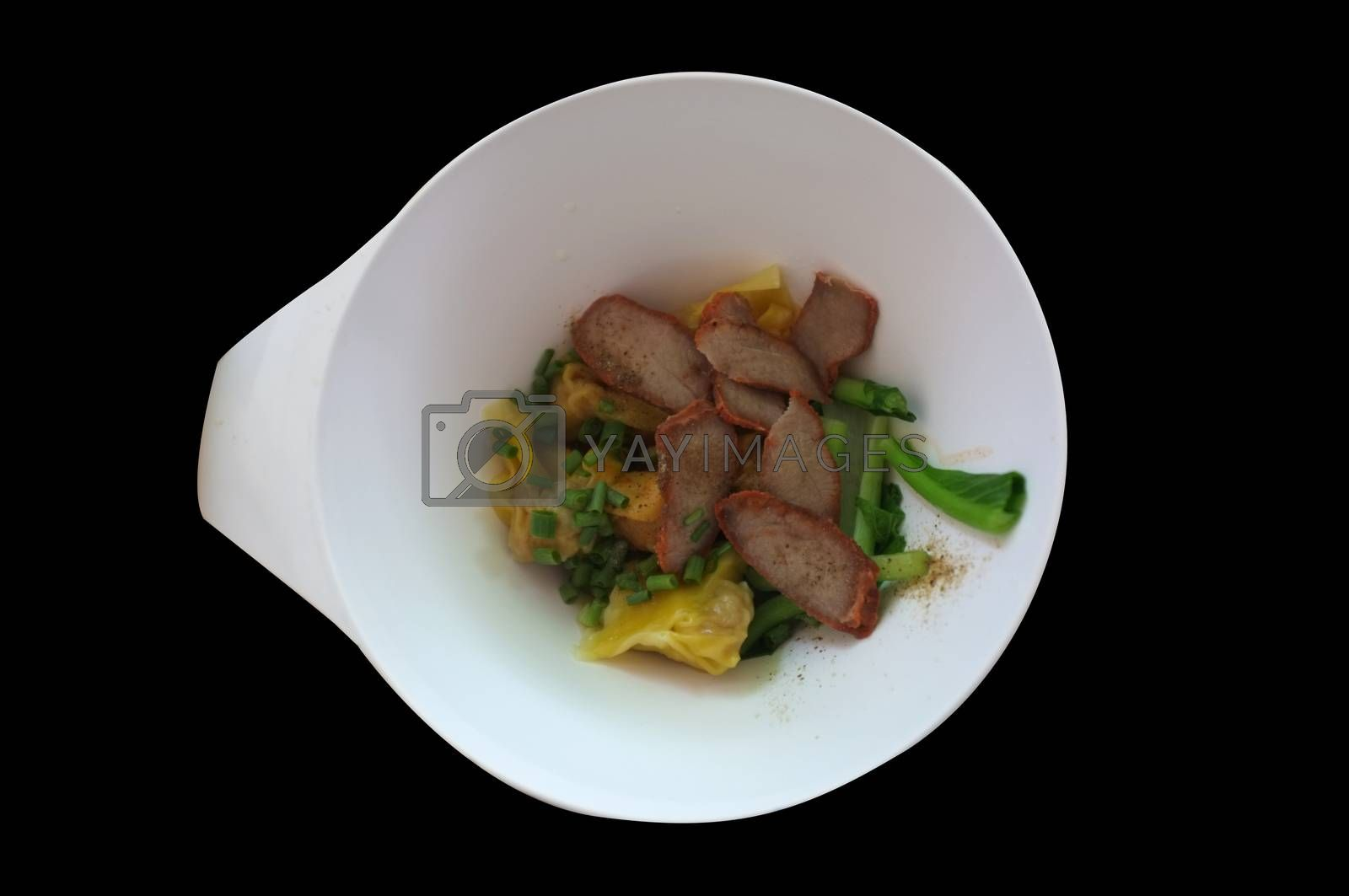 Wantan egg with pork and sliced roasted red pork . Asian street food