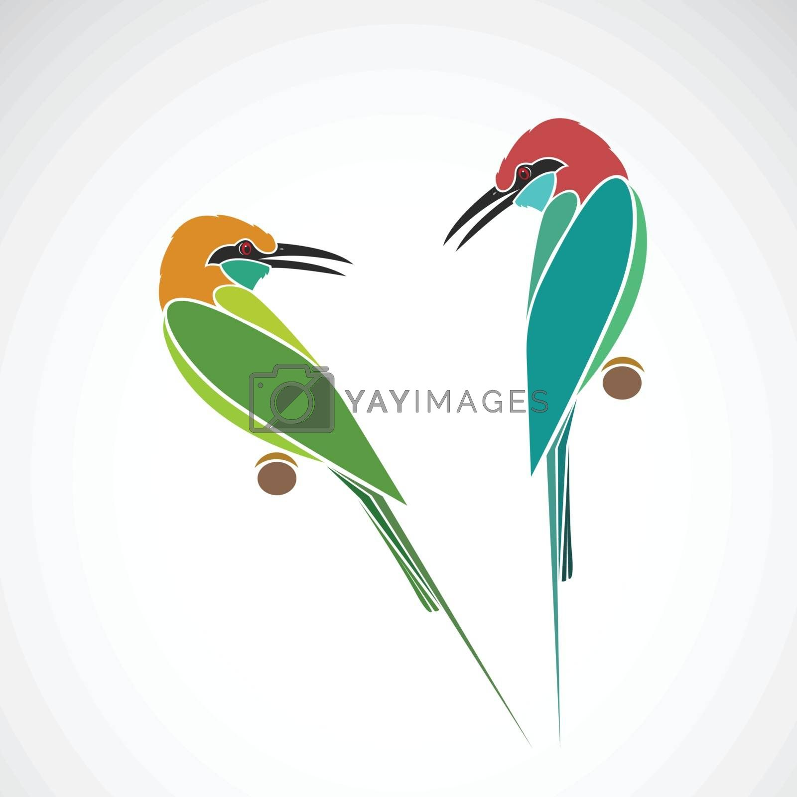 Green Bee eater and Blue throated Bee eater on white background. Birds. Animals. Easy editable layered vector illustration.