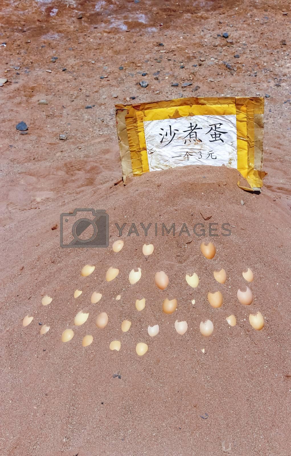 Hard boiled eggs each for $3 RMB at Flaming Mountains, Xinjiang, China
