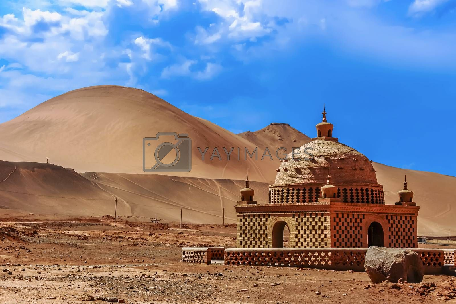 Small mosque like building in the deserts of The Faming Mountains in Xinjiang Province