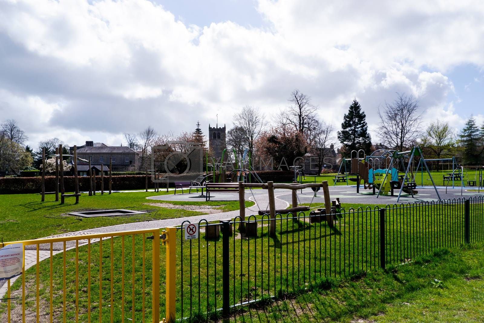 Abbot Hall playground closed in Kendal Cumbria due to Covid 19