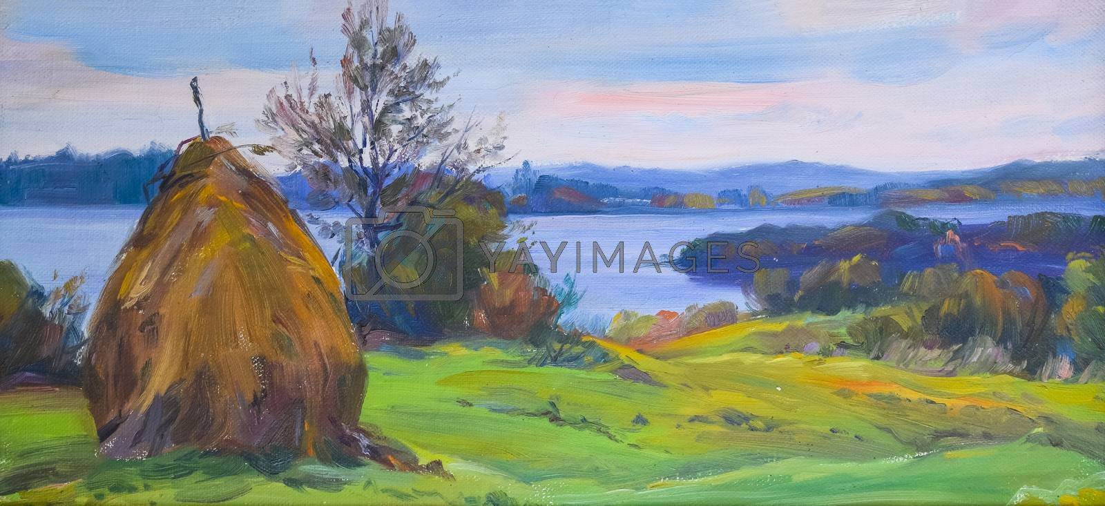 Haystack in the meadow opposite the river. Rural landscape oil paintings.