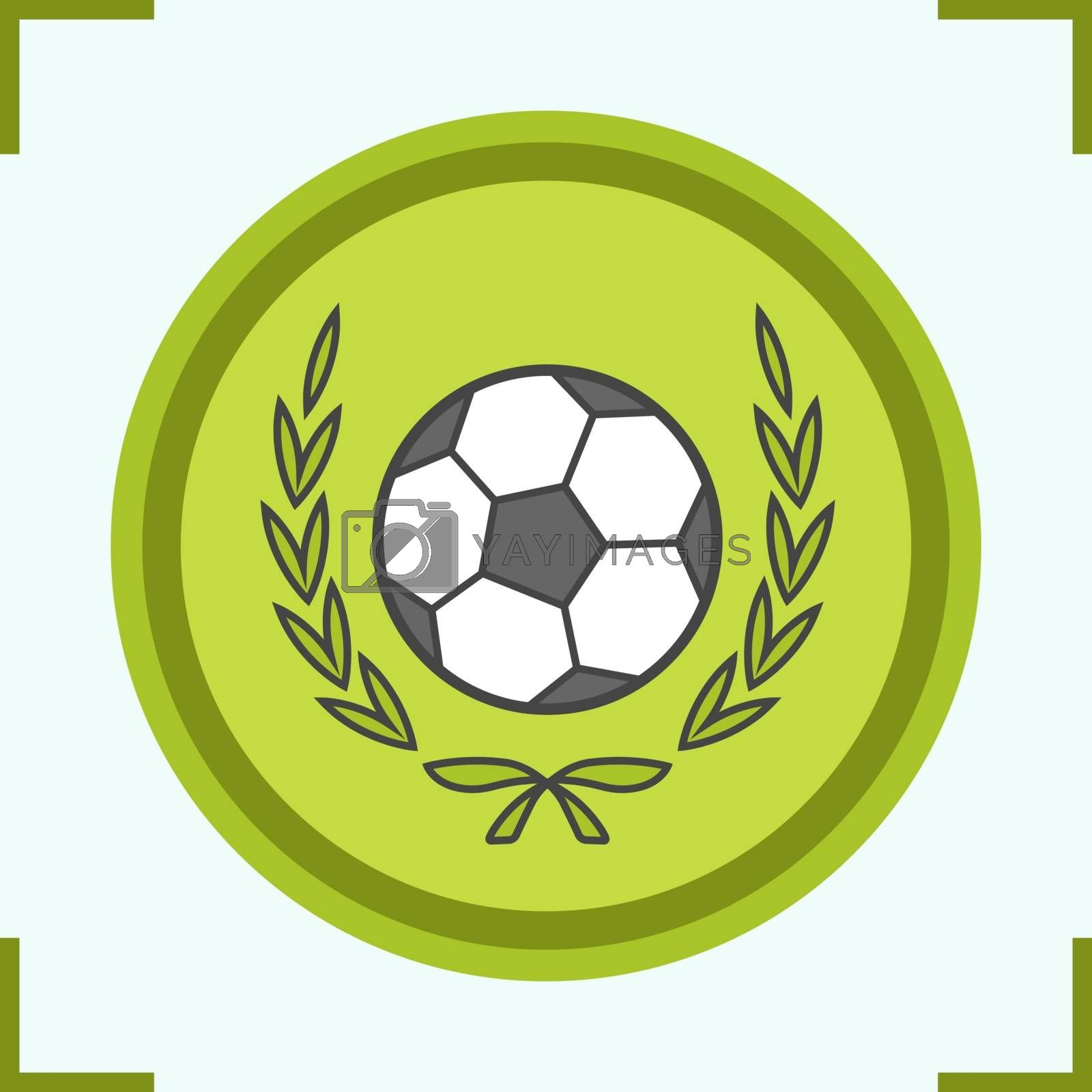 Football championship league color icon. Soccer ball in laurel wreath. Isolated vector illustration