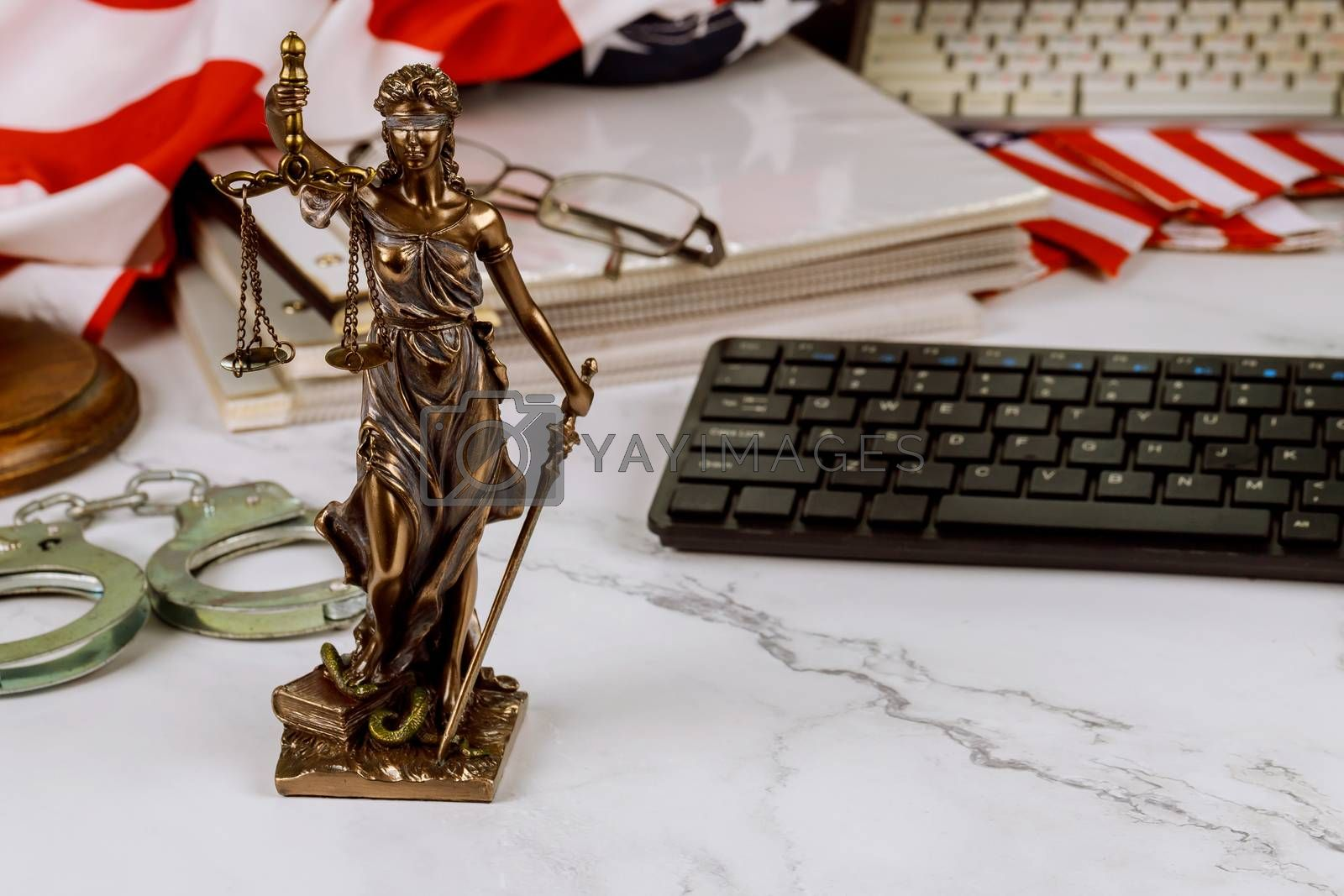 Legal office of lawyers and attorneys legal bronze model statue of metal handcuffs, judge law justice service