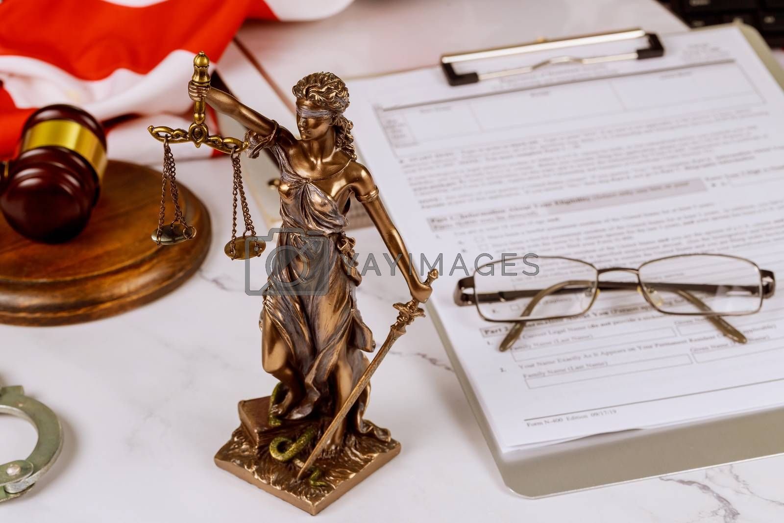 Justice counselor in suit lawyer working on a documents at law firm in office justice service