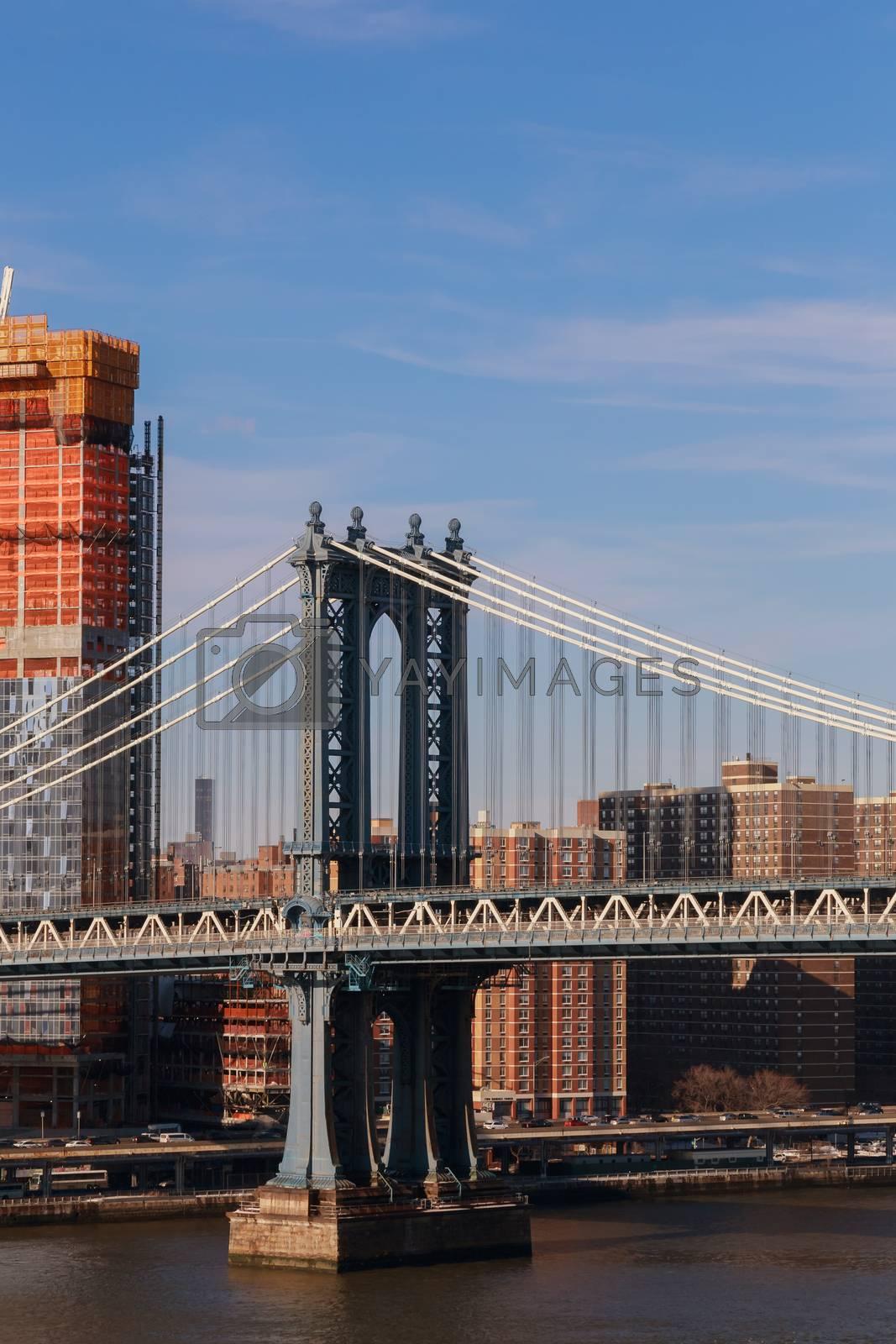 Lower Manhattan skyline under a Manhattan Bridge of downtown New York City, New York, USA