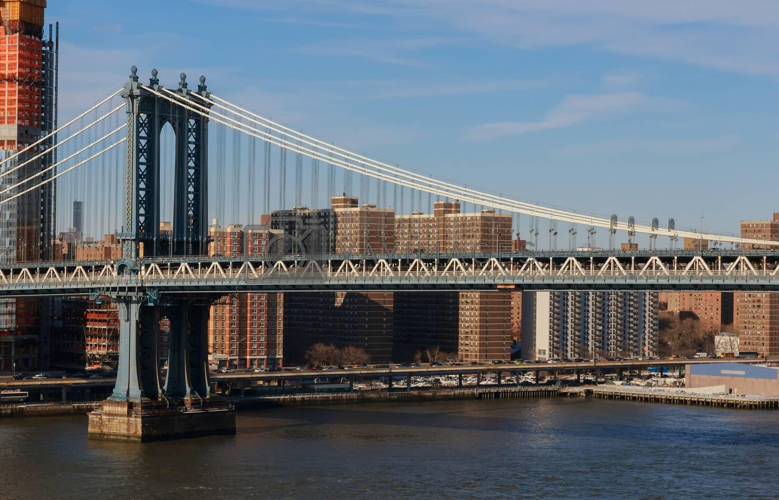 Beautiful view to Manhattan bridge street, Brooklyn, New York City U.S.